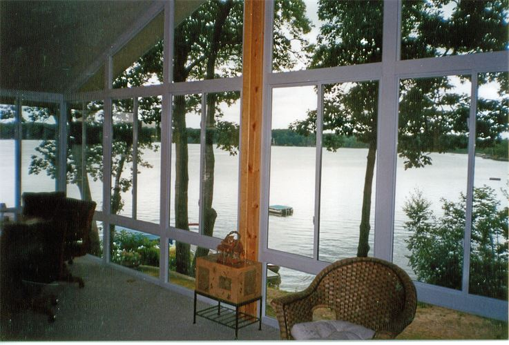 Interior View Over the Lake in All-Glass Gable Style Sunroom in Northern Michigan