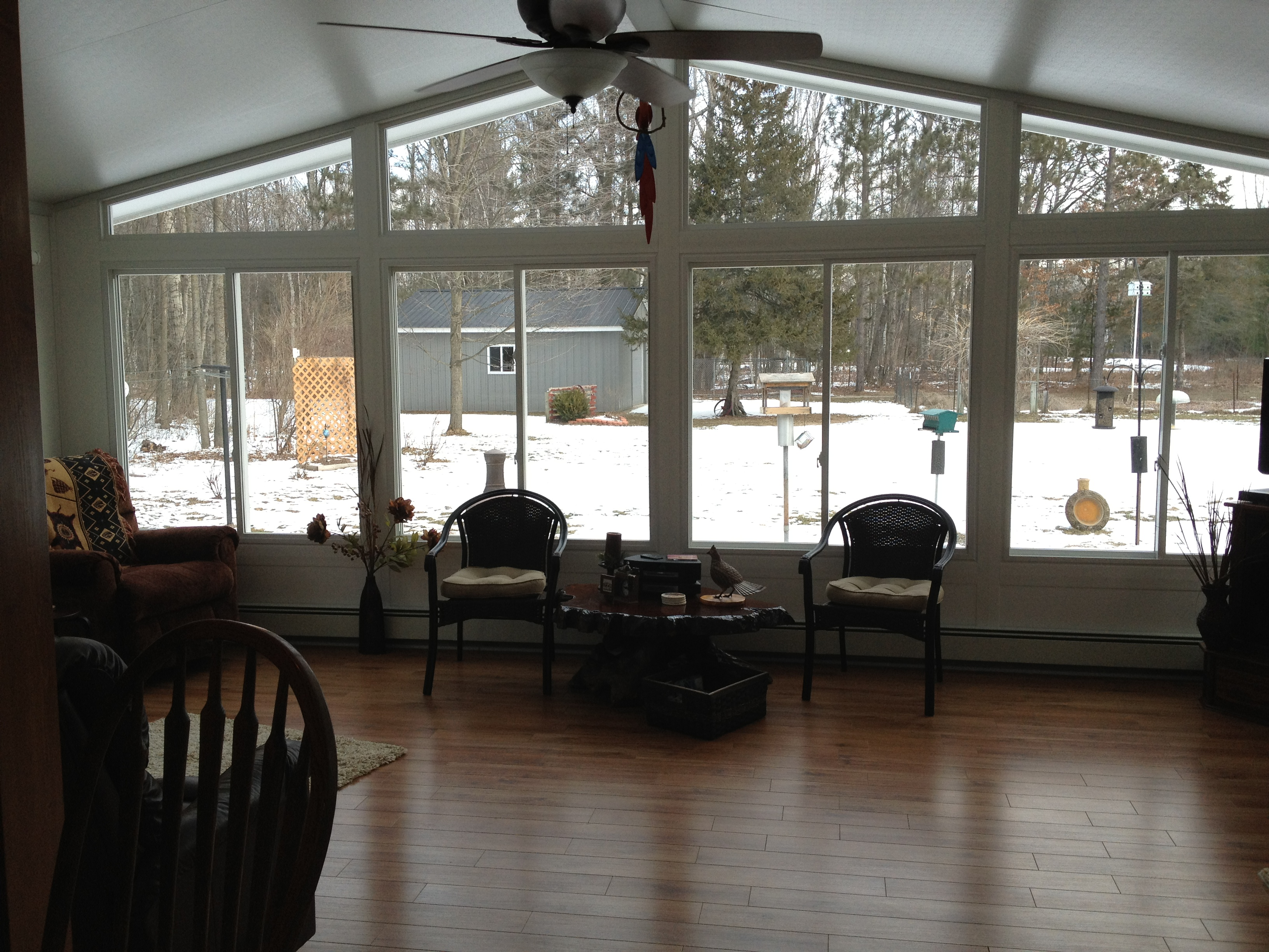 Interior View with Wood Floor in All-Glass Gable Style Sunroom in Northern Michigan