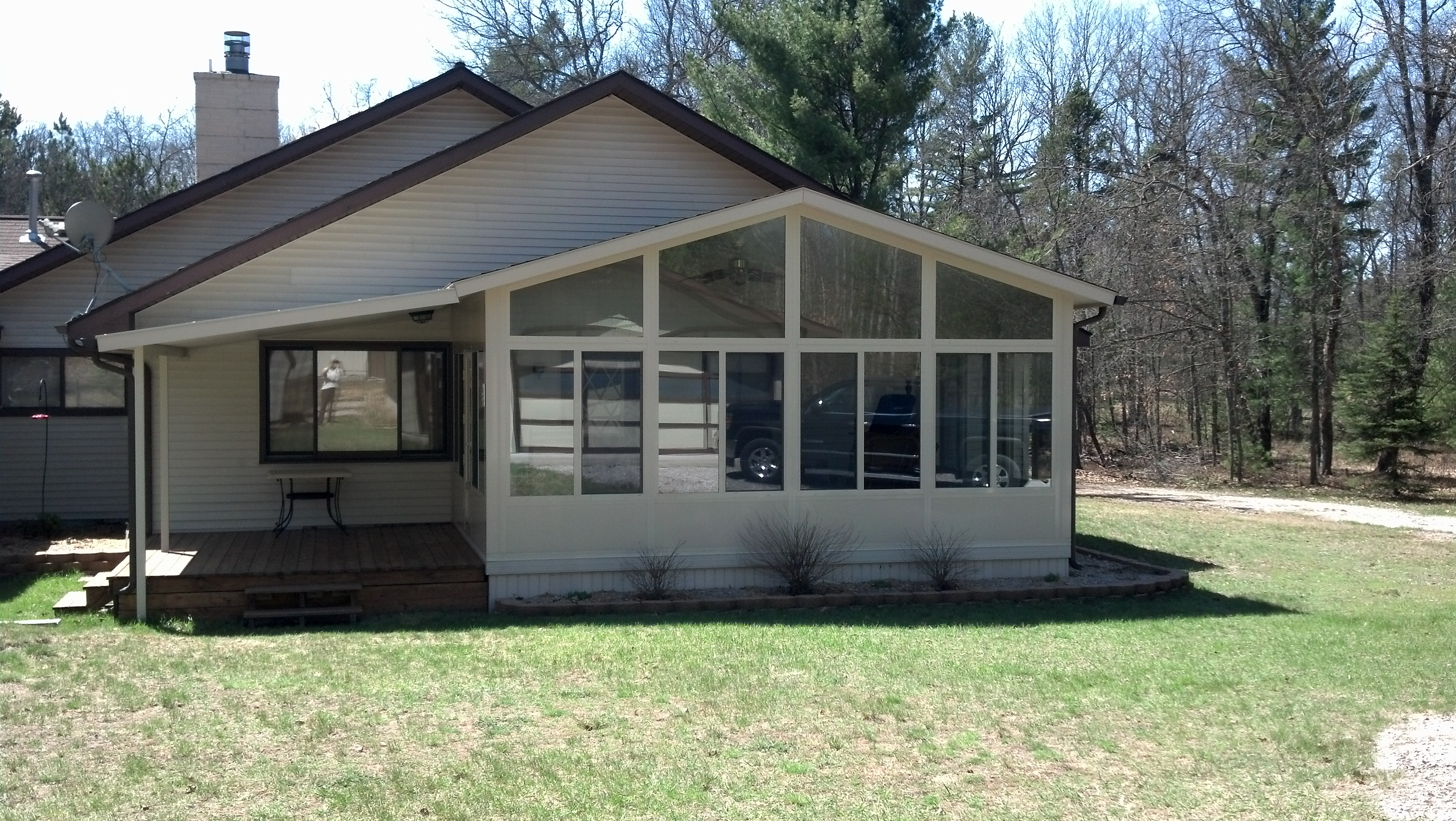 Covered Deck Gable Style Sunroom in Northern Michigan