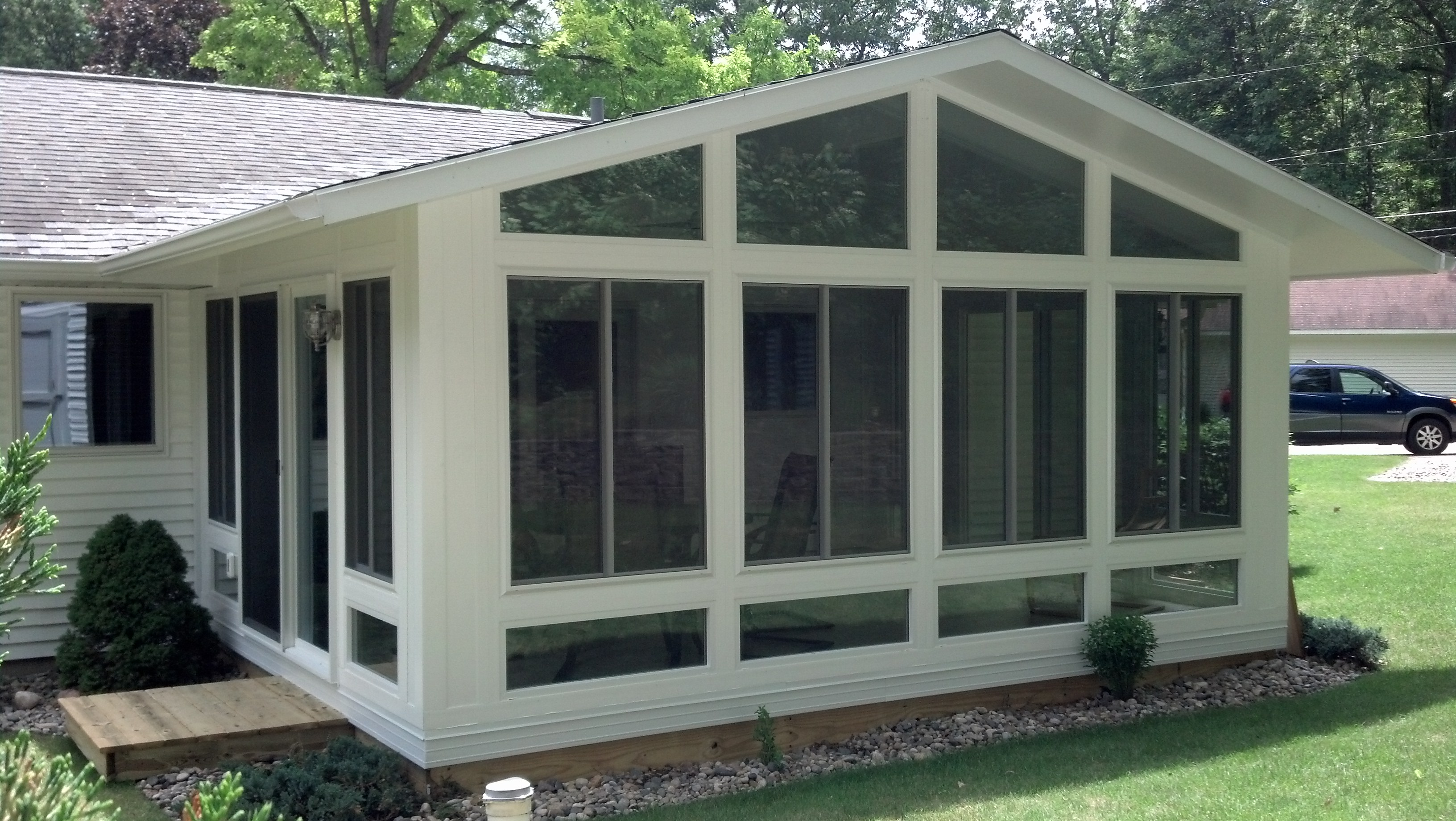 All-Glass Reverse Gable Style 4 Season Sunroom in Northern Michigan