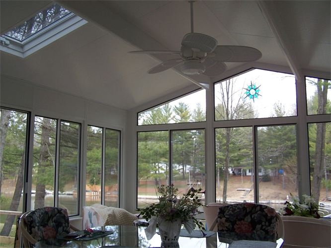 Interior All-Glass Reverse Gable Style 4 Season Sunroom in Northern Michigan